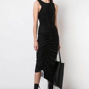 Cinq a Sept Cora Asymmetrical Black Ruched Dress